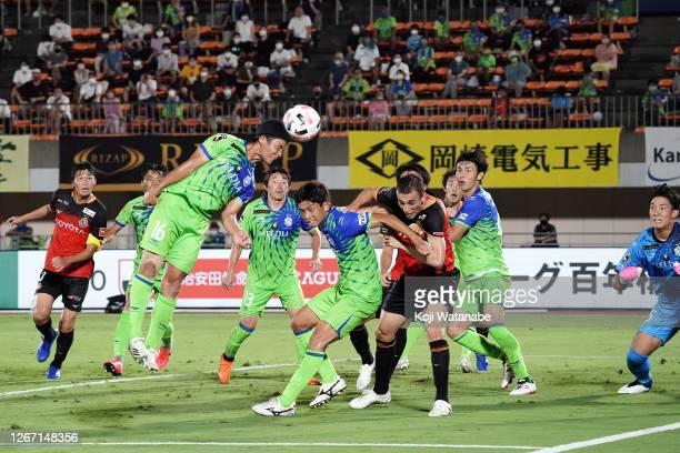 Nagoya Grampus scores his side's first on goal during the J.League Meiji Yasuda J1 match between Shonan Bellmare and Nagoya Grampus at the Shonan BMW...