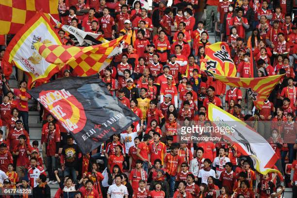 Nagoya Grampus supporters cheer during the JLeague J2 match between Nagoya Grampus and FC Gifu at Toyota Stadium on March 4 2017 in Toyota Aichi Japan