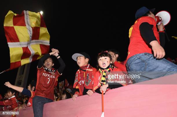 Nagoya Grampus supportes cheer after their team's 42 victory in the JLeague J1 Promotion PlayOff semi final match between Nagoya Grampus and JEF...