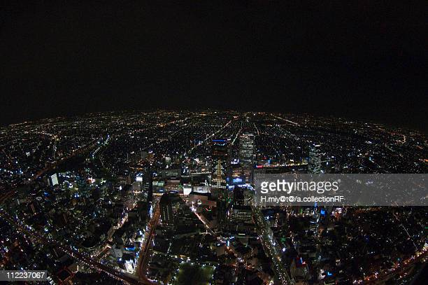 Nagoya Station (Meieki) at Night, Aerial view