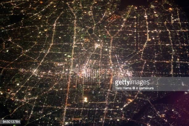 jr nagoya station in aichi prefecture in japan night time aerial view from airplane - 名古屋 ストックフォトと画像