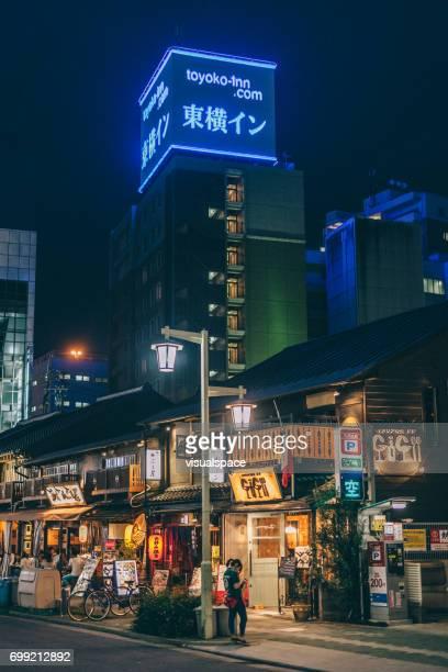 nagoya street at night - nagoya stock pictures, royalty-free photos & images