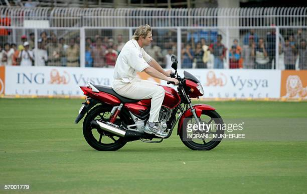 England cricketer and Man of the Match Matthew Hoggard rides his prize a motorbike after a presentation ceremony on the fifth day of the first Test...
