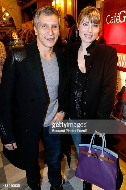 Nagui and his wife actress Melanie Page attend 'La Porte a Cote' Theater Play premiere Held at Theatre Edouard VII on February 10 2014 in Paris France