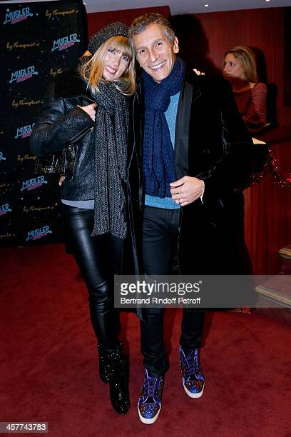 Nagui and his wife actress Melanie Page attend the 'Mugler Follies' Paris new variety show premiere on December 18 held at 'Le Comedia' Theater in...
