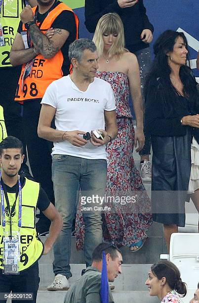Nagui and his wife Melanie Page attend the UEFA Euro 2016 semifinal match between Germany and France at Stade Velodrome on July 7 2016 in Marseille...
