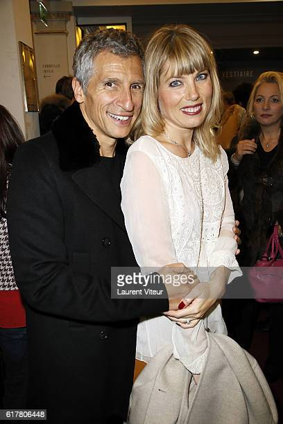 Nagui and Melanie Page attend 'L'Heureux Elu' Theater Play Premiere at Theatre de La Madeleine on October 24 2016 in Paris France