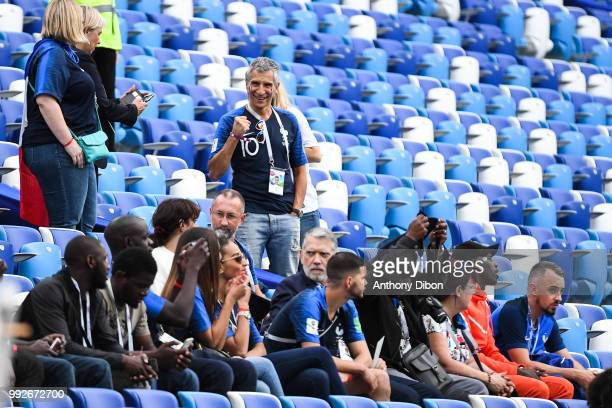 Nagui french TV presenter and Alain Griezmann father of Antoine Griezmann during 2018 FIFA World Cup Quarter Final match between France and Uruguay...