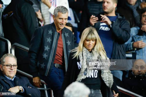 Nagui french TV presenter and his wife Melanie Page during the Ligue 1 match between Paris Saint Germain and Olympique Lyonnais at Parc des Princes...