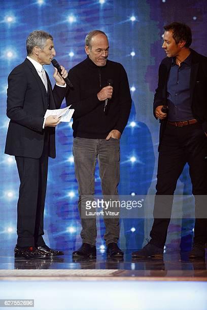 Nagui Laurent Baffie and Actor Bruno Debrandt attend 30th Telethon at Hippodrome de Longchamp on December 3 2016 in Paris France
