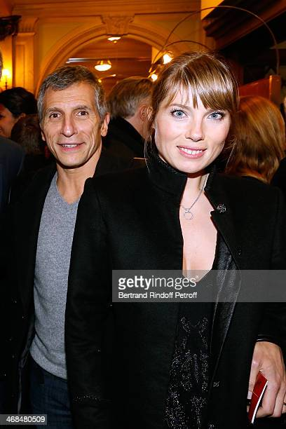 Nagui with his wife actress Melanie Page attend 'La Porte a Cote' Theater Play premiere Held at Theatre Edouard VII on February 10 2014 in Paris...