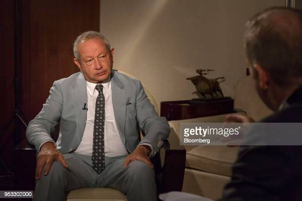 Naguib Sawiris billionaire and chairman of Orascom Telecom Media and Technology Holding SAE pauses during a Bloomberg Television interview in Cairo...
