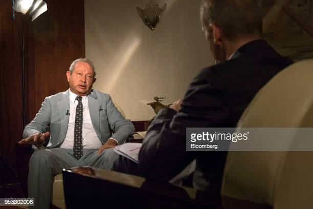 Naguib Sawiris billionaire and chairman of Orascom Telecom Media and Technology Holding SAE speaks during a Bloomberg Television interview in Cairo...