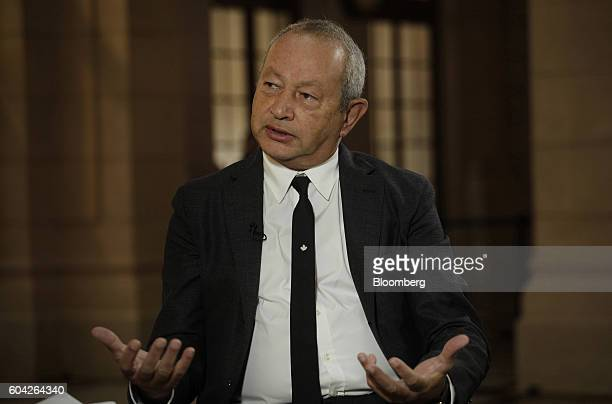 Naguib Sawiris chairman and chief executive officer of Orascom Telecom Media And Technology Holding SAE speaks during a Bloomberg Television...
