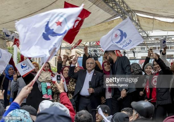 Nahda Movement Representative Abdulkarim alHaruni attends a rally marking the eighth anniversary of Arab Spring at Habib Burgiba Street in the...