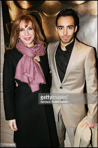 "Nahed Ojjeh and son Akram - Premiere of the movie ""Hannibal Rising"" at the Charles Louis Havas space in Neuilly Sur Seine, Paris."