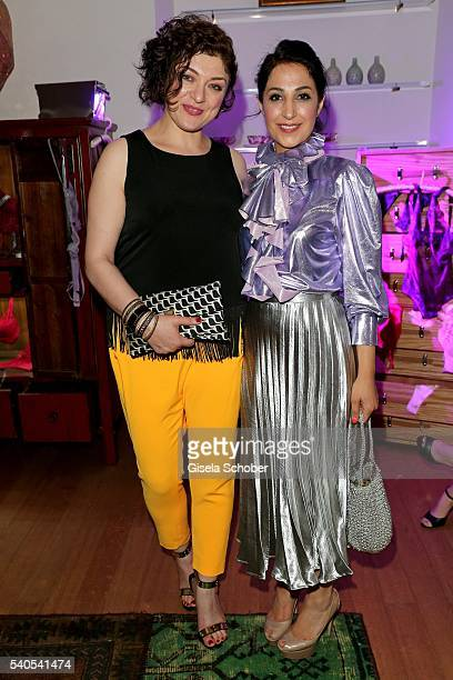 Nahid Shahalimi and Laila Hamidi during the 'Triumph Maison Party' at Palais Nr 6 Schloss Nymphenburg on June 15 2016 in Munich Germany