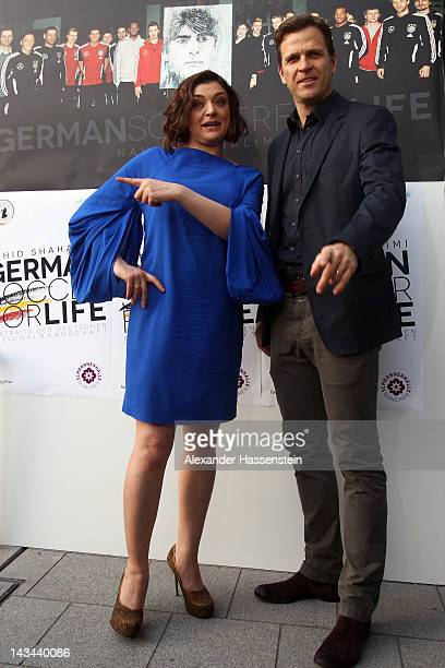 Nahid Shahalimi attends with Oliver Bierhoff manager of the German national Football team the 'German Soccer For Life' Exhibition at Schrannenhalle...