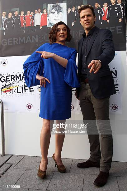 Nahid Shahalimi attends with Oliver Bierhoff, manager of the German national Football team, the 'German Soccer For Life' Exhibition at Schrannenhalle...