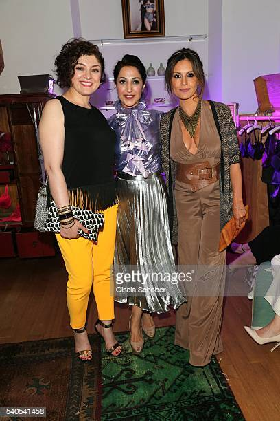 Nahid Shahalimi Laila Hamidi and Nazan Eckes during the 'Triumph Maison Party' at Palais Nr 6 Schloss Nymphenburg on June 15 2016 in Munich Germany