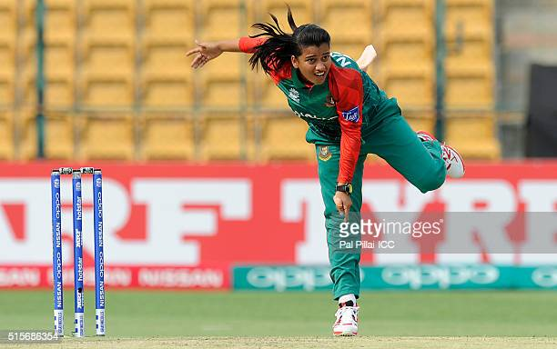 Nahida Akter of Bangladesh bowls during the Women's ICC World Twenty20 India 2016 match between India and Bangladesh at the Chinnaswamy stadium on...