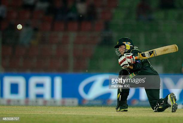 Nahida Khan of Pakistan bats during the ICC Women's World Twenty20 Playoff 2 match between Pakistan Women and India Women played at Sylhet...
