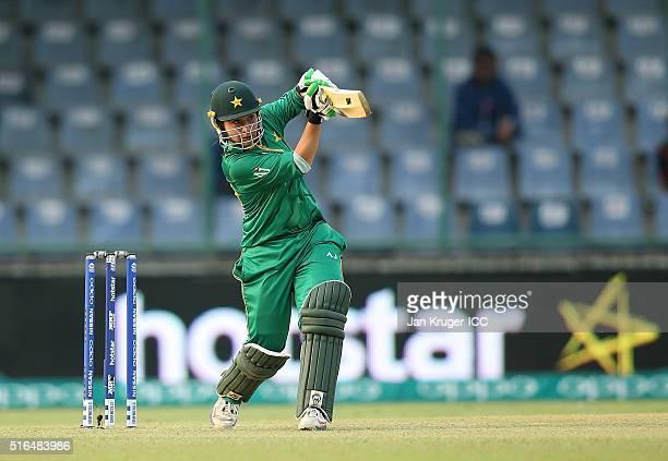 Nahida Khan of Pakistan drives the ball during the Women's ICC World Twenty20 India 2016 match between India and Pakistan at Feroz Shah Kotla Ground...