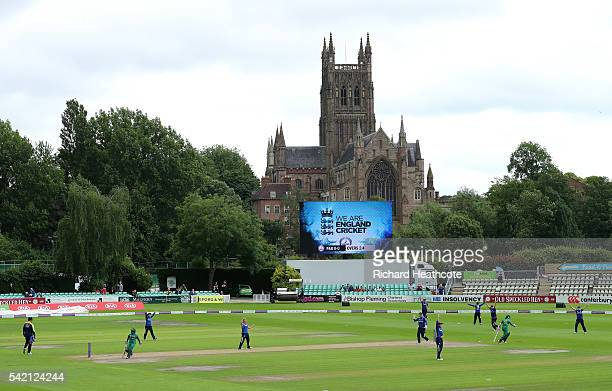 Nahida Khan of Pakistan is run out during the second Women's Royal London ODI match between England and Pakistan at New Road on June 22 2016 in...