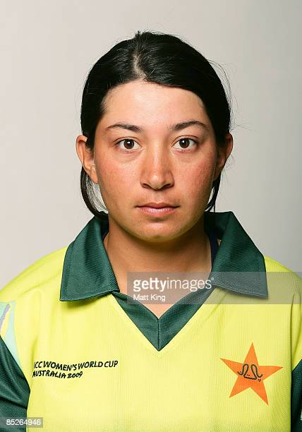 Nahida Khan of Pakistan poses ahead of the ICC Women's World Cup 2009 at the Menzies Hotel on March 5 2009 in Sydney Australia