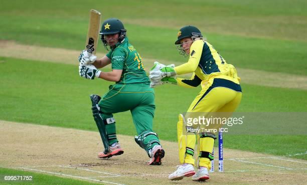 Nahida Khan of Pakistan Women bats during the ICC Women's World Cup Warm Up Match between Australia and Pakistan on June 22 2017 in Leicester England