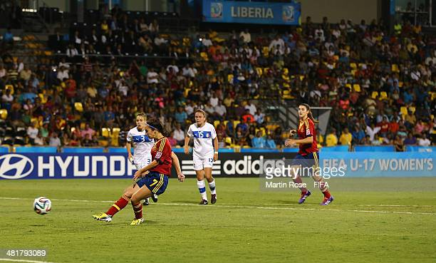 Nahikari Garcia of Spain scores the 2nd goal with a penalty during the FIFA U17 Women's World Cup 2014 semi final match between Italy and Spain at...