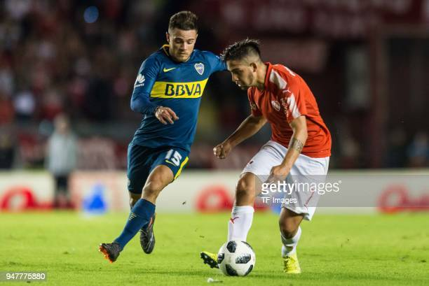Naitan Nandez of Boca Juniors and Martin Benitez of Independiente battle for the ball during a match between Independiente and Boca Juniors as part...