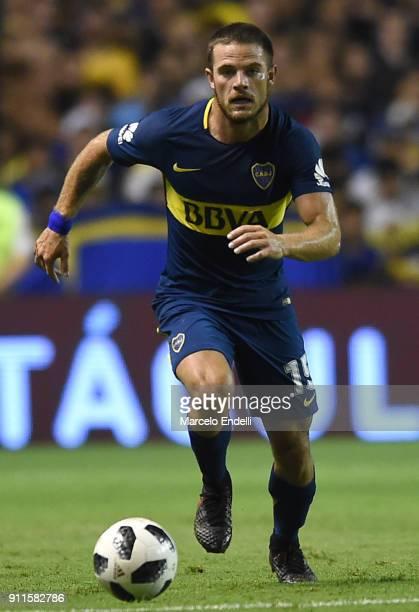 Nahitan Nandez of Boca Juniors drives the ball during a match between Boca Juniors and Colon as part of the Superliga 2017/18 at Alberto J Armando...
