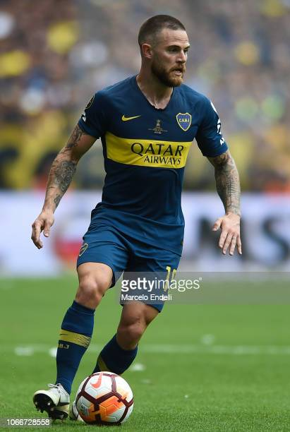 Nahitan Nandez of Boca Juniors drives the ball during the first leg match between Boca Juniors and River Plate as part of the Finals of Copa CONMEBOL...