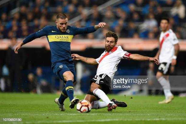 Nahitan Nandez of Boca Juniors is fouled by Leonardo Ponzio of River Plate during the second leg of the final match of Copa CONMEBOL Libertadores...