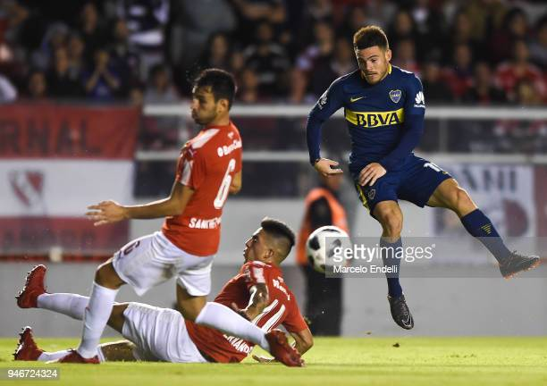 Nahitan Nandez of Boca Juniors kicks the ball during a match between Independiente and Boca Juniors as part of Superliga 2017/18 at Libertadores de...