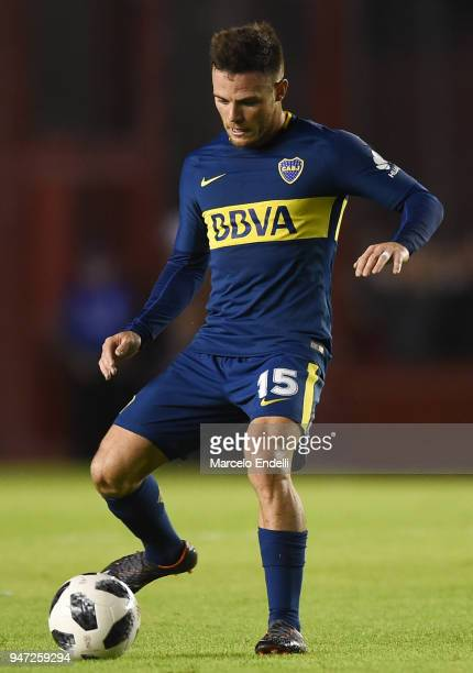 Nahitan Nandez of Boca Juniors kicks the ball during a match between Independiente and Boca Juniors as part of Superliga 2017/18 on April 15 2018 in...
