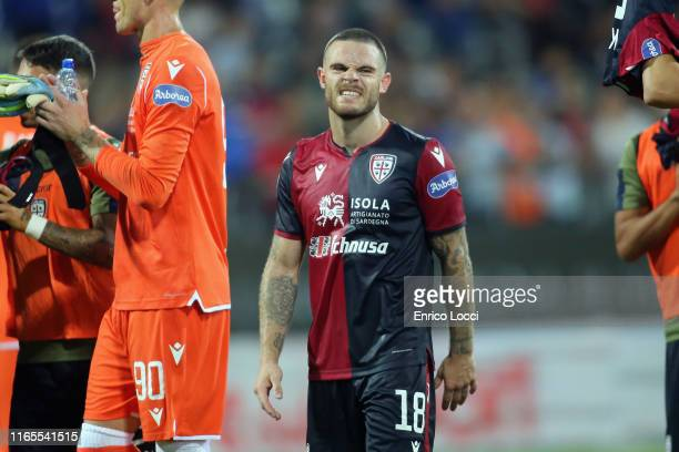 Nahitan Nandez of Cagliari at the end of the Serie A match between Cagliari Calcio and FC Internazionale at Sardegna Arena on September 1 2019 in...