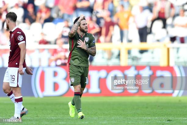 Nahitan Nandez of Cagliari Calcio celebrates after scored the opening goal during the Serie A match between Torino FC and Cagliari Calcio at Stadio...