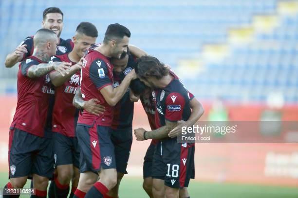 Nahitan Nandez of Cagliari celebrates his goal 10 during the Serie A match between Cagliari Calcio and Torino FC at Sardegna Arena on June 27 2020 in...