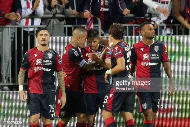Nahitan Nandez of Cagliari celebrates his goal 21 during the Serie A match between Cagliari Calcio and Bologna FC at Sardegna Arena on October 30...
