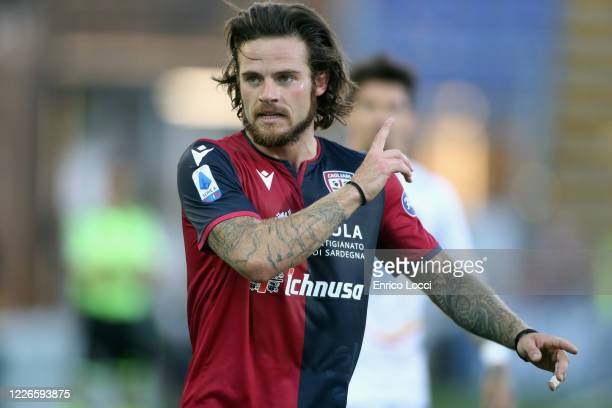 Nahitan Nandez of Cagliari in action during the Serie A match between Cagliari Calcio and US Lecce at Sardegna Arena on July 12, 2020 in Cagliari,...