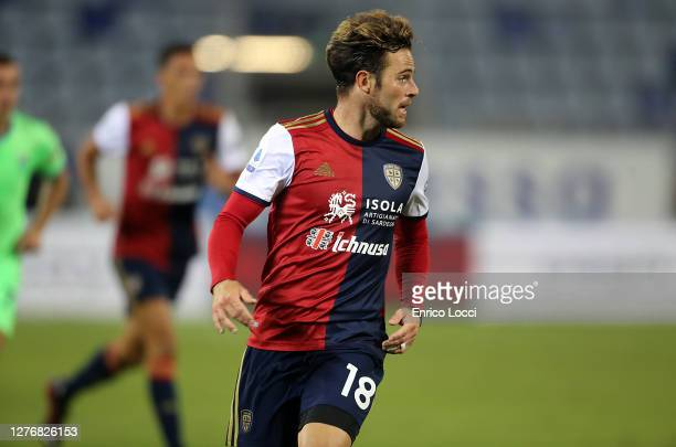 Nahitan Nandez of Cagliari in action during the Serie A match between Cagliari Calcio and SS Lazio at Sardegna Arena on September 26, 2020 in...