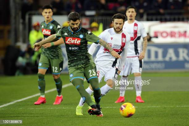 Nahitan Nandez of Cagliari in contrast with Elseid Hysaj of Napoli during the Serie A match between Cagliari Calcio and SSC Napoli at Sardegna Arena...