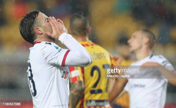 Nahitan Nandez of Cagliari shows his dejection during the Serie A match between US Lecce and Cagliari Calcio at Stadio Via del Mare on November 25...