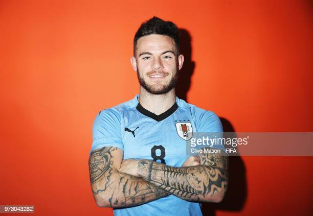 Nahitan Nandez of Uruguay poses during the official FIFA World Cup 2018 portrait session at the Borsky Sports Centre on June 12 2018 in Nizhny...