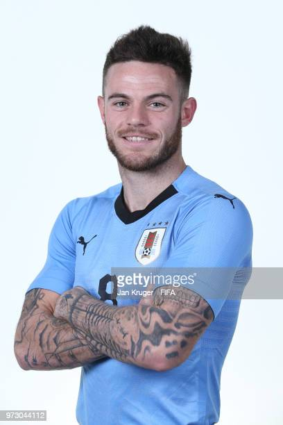 Nahitan Nandez of Uruguay poses for a portrait during the official FIFA World Cup 2018 portrait session at Borsky Sport Centre on June 12 2018 in...