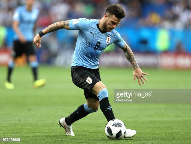 Nahitan Nandez of Uruguay runs with the ball during the 2018 FIFA World Cup Russia group A match between Uruguay and Saudi Arabia at Rostov Arena on...
