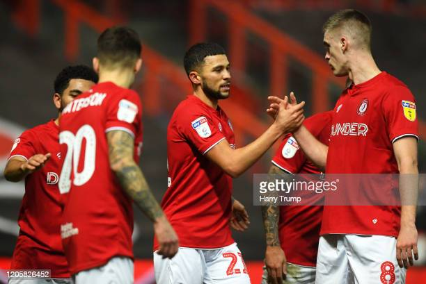 Nahki Wells of Bristol City celebrates after scoring his sides first goal with Markus Henriksen of Bristol City during the Sky Bet Championship match...