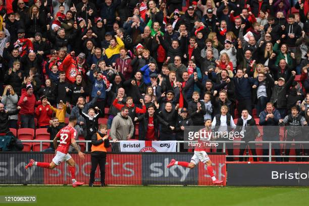 Nahki Wells of Bristol City celebrates after scoring his team's first goal during the Sky Bet Championship match between Bristol City and Fulham FC...